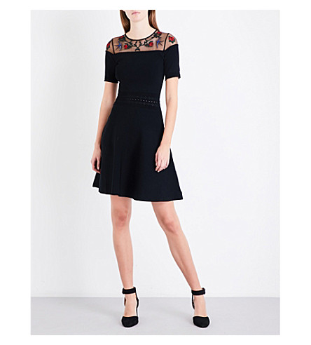 SANDRO Floral and bird-embroidered knitted dress (Black