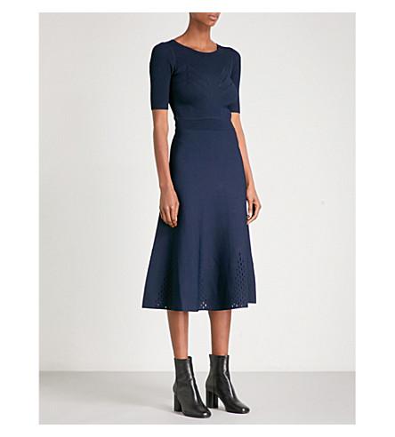 SANDRO Cutout-hem knitted dress (Navy+blue