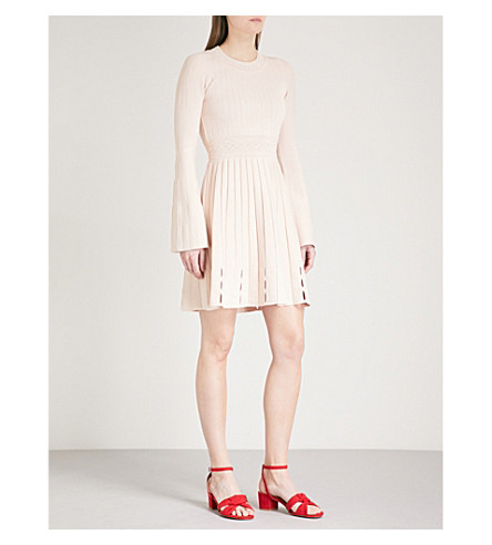 SANDRO Ribbed-panel knitted dress (Poudre