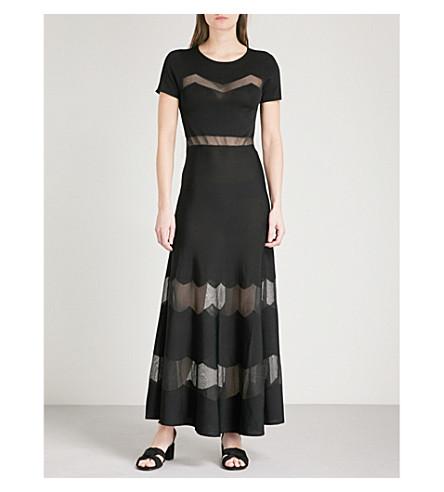 SANDRO Sheer-panels knitted dress (Noir