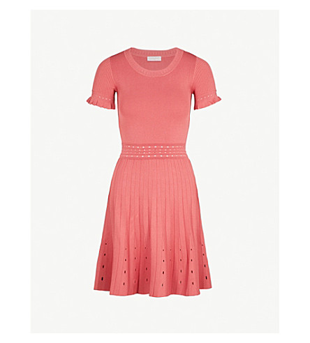 SANDRO Cutout-detail knitted dress (Framboise