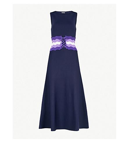 SANDRO Belted stretch-knit midi dress (Marine