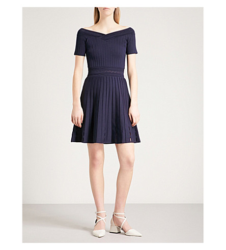 SANDRO V-neck ribbed-knit mini dress (Marine