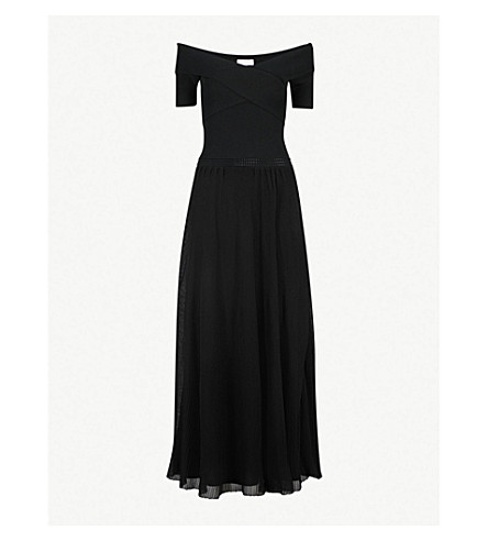 SANDRO Off-the-shoulder knitted maxi dress (Noir