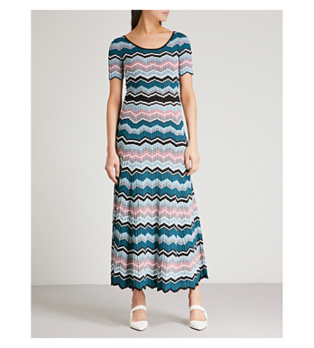 SANDRO Zigzag maxi knitted dress (Bleu