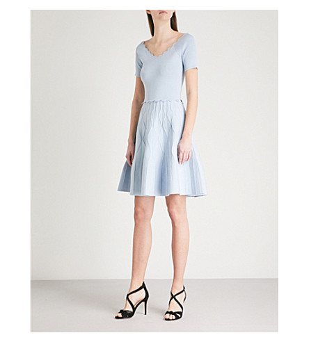 SANDRO Scalloped stretch-knit mini dress (Bleu+gris