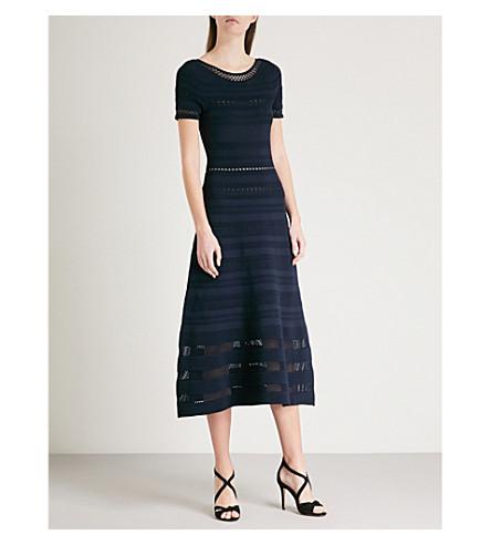 SANDRO Mesh-panelled stretch-knit midi dress (Marine