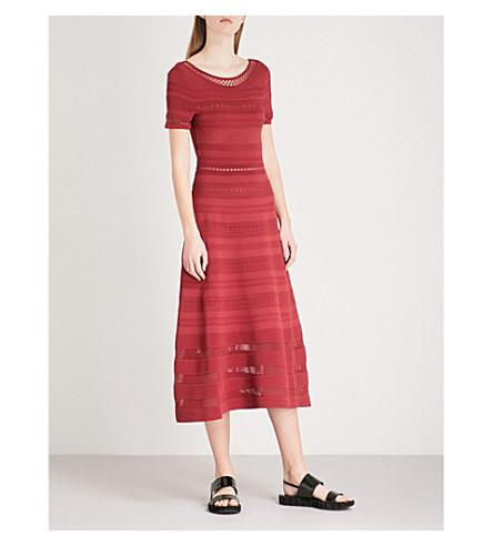 paneles Rouge punto elástico Vestido SANDRO de malla cuit midi con de 1zqd6wY