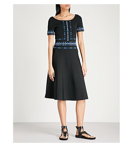 SANDRO Floral-embroidered knitted dress (Noir