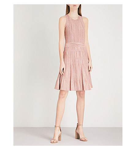 SANDRO Metallic knit fit-and-flare dress (Rose