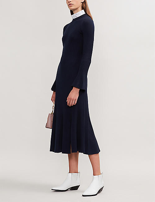 Sandro womens selfridges shop online sandro contrast collar knitted midi dress gumiabroncs Image collections