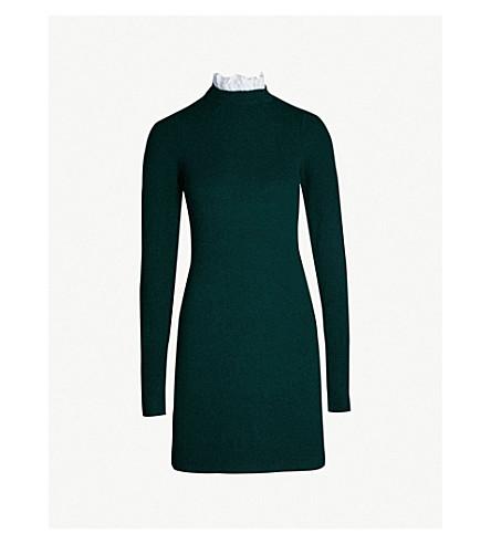 SANDRO 皱纹颈部羊毛混纺连衣裙 (瓶 + 绿