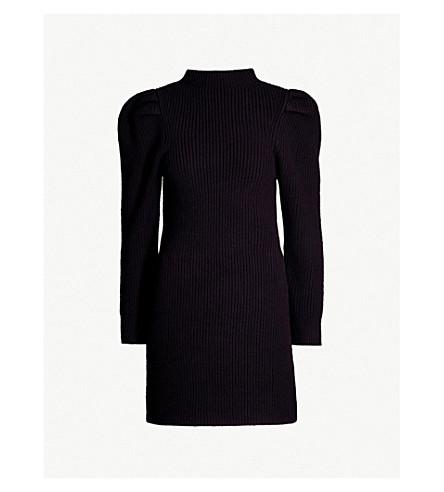 SANDRO Puff-shoulder wool dress (Black