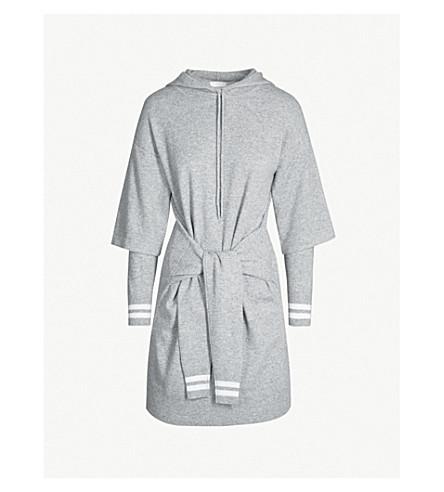 SANDRO Brunelle waist-tie wool and cashmere-blend dress (Grey