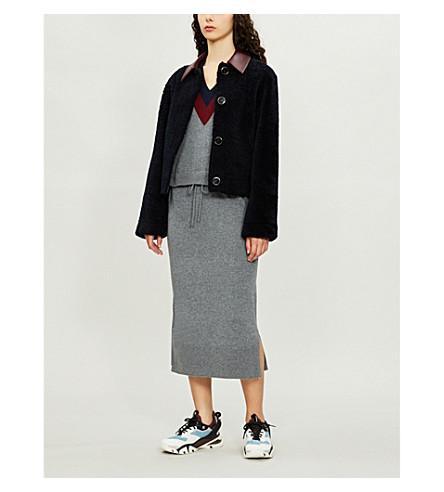 SANDRO 束腰羊毛和羊绒混纺连衣裙 (灰色