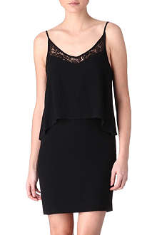 SANDRO Rayon lace-detail crepe dress