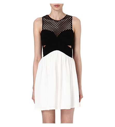 SANDRO Rubis mesh combo dress (White