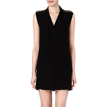 SANDRO Rome mesh wrap dress (Black