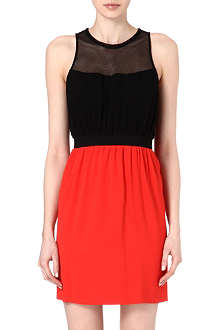 SANDRO Contrast mesh detail dress