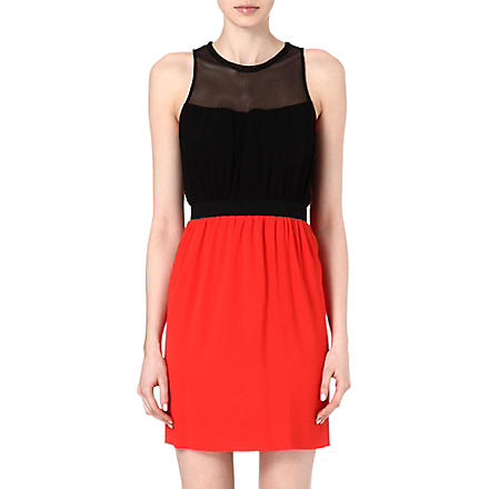 SANDRO Contrast mesh detail dress (Red
