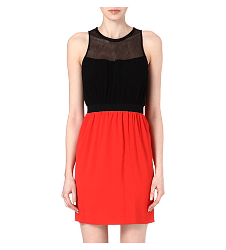 SANDRO Rose black and red combo dress (Red