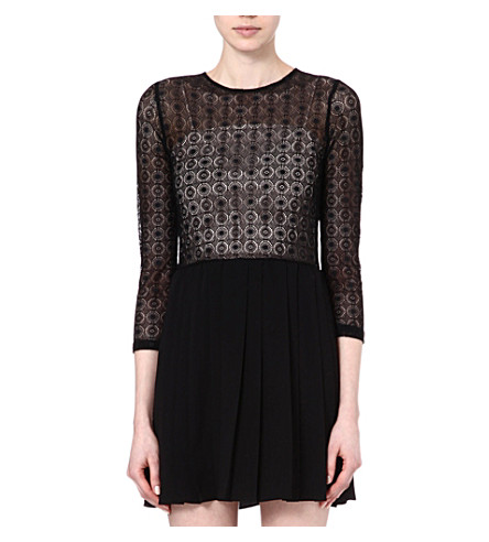 SANDRO Reservee sheer top dress (Black