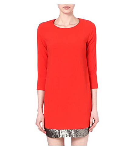 SANDRO Reveil fluid dress (Red