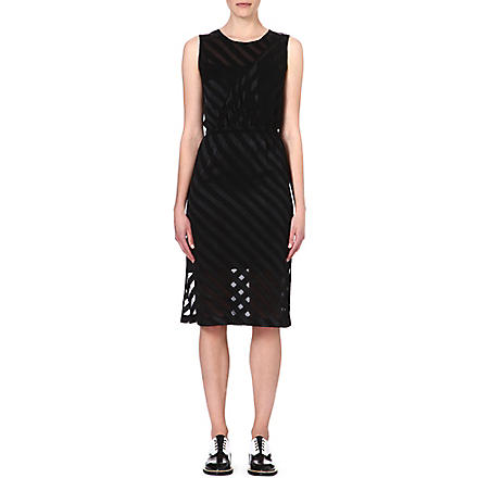 SANDRO Semi-sheer striped dress (Black