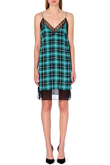 SANDRO Richa silk tartan print dress