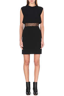 SANDRO Roberta mesh-panel crepe dress