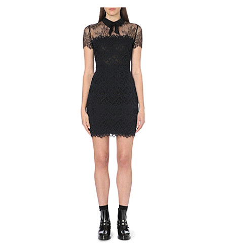 SANDRO Rozen lace-panel bow dress (Black