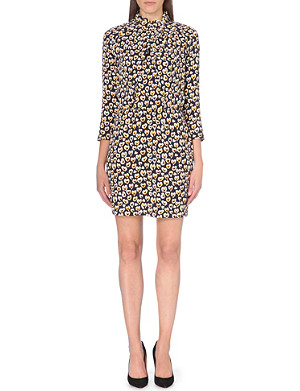 SANDRO Graphic-print crepe dress