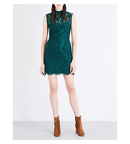 SANDRO High neck floral-lace mini dress (Green