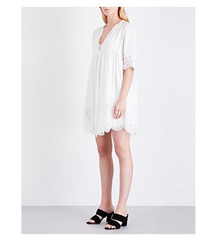 SANDRO Lace-trim satin-twill dress (Ecru