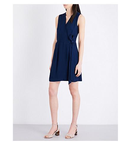 SANDRO Tie-waist crepe mini dress (Navy+blue