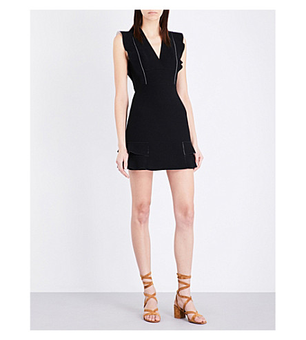 SANDRO Ruffled woven mini dress (Black