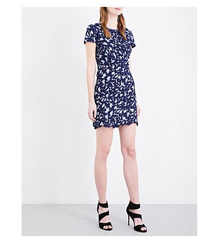 SANDRO Geometric lace mini dress (Navy+blue