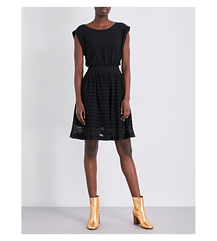 SANDRO Geometric-lace and crepe mini dress (Black