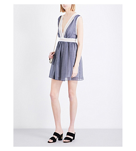 SANDRO V-neck fit-and-flare organza dress (Navy+blue