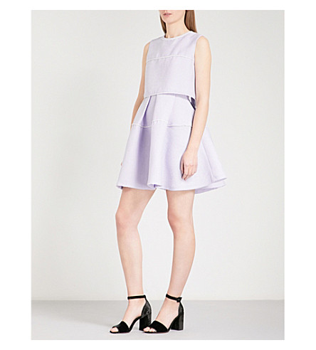 SANDRO Faux pearl-embellished crepe mini dress (Mauve