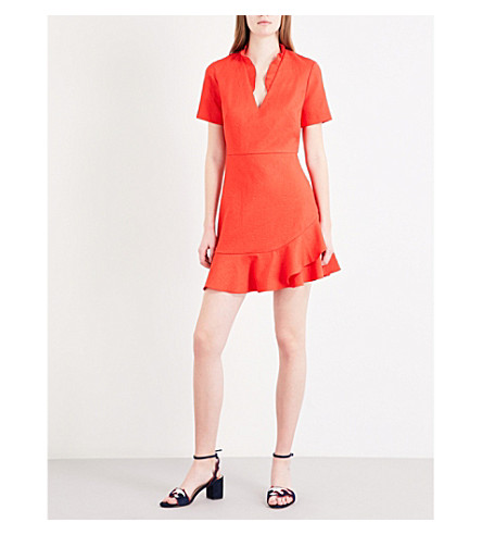 SANDRO Frilled woven dress (Coral