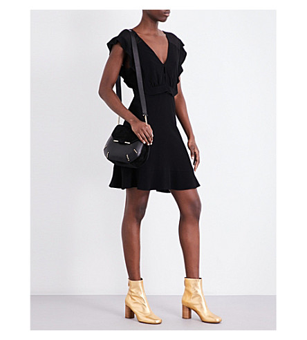SANDRO Ruffled crepe mini dress (Black
