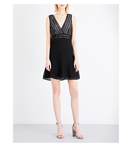 SANDRO V-neck embroidered-lace mini dress (Black