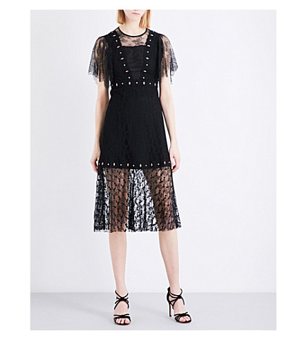 SANDRO Fit-and-flare floral lace dress (Black