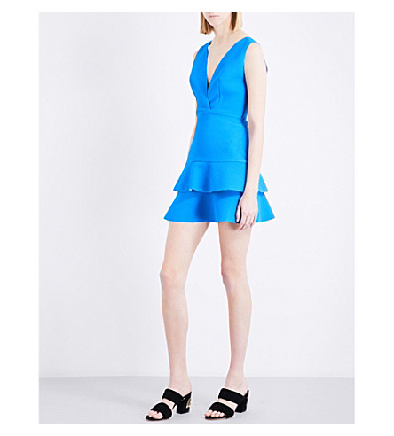 SANDRO Ruffled fit-and-flare woven dress (Azur+blue