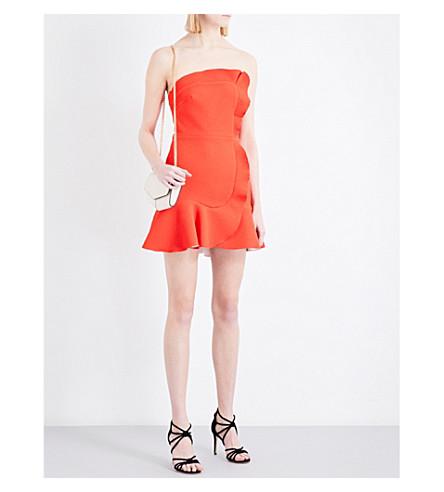 SANDRO Ruffled asymmetric woven dress (Coral