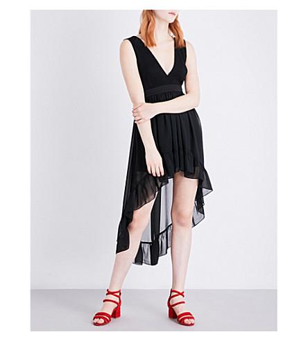 SANDRO Dropped-hem plissé chiffon dress (Black