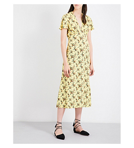 SANDRO Floral midi crepe dress (Multi-color