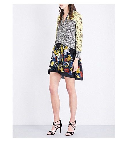 SANDRO Floral contrast-panel crepe and silk-crepe dress (Multi-color