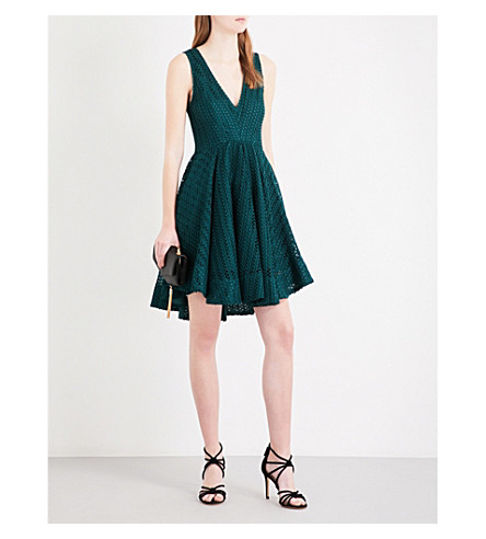 SANDRO V-neck geometric-lace mini dress (Green